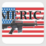 Merica Distressed Rifle Shirt h.png Square Sticker