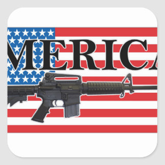 Merica Distressed Rifle Shirt h png Square Sticker