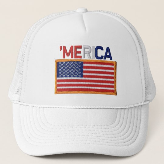 'MERICA Embroidered Stitch-Style US Flag Patch Hat