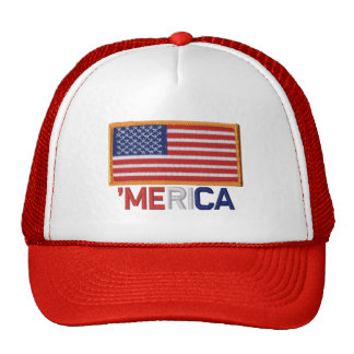'MERICA Embroidered Stitch-Style US Flag Patch Hat Trucker Hat