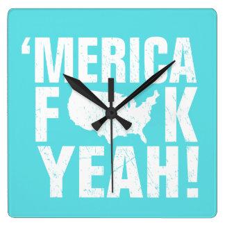 'Merica Fck Yeah! Patriotic American - Robins Blue Square Wall Clock