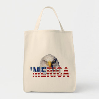 'MERICA Flag and Eagle Tote Bag