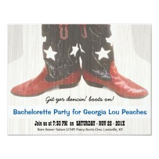 Merica Girl Red White Blue Boots Bachelorette 4.25x5.5 Paper Invitation Card