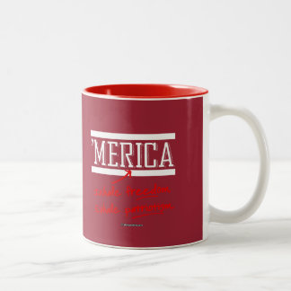 Merica - inhale la libertad exhalan patriotismo taza dos tonos
