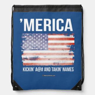 'Merica - Kickin A and Takin Names Drawstring Backpacks