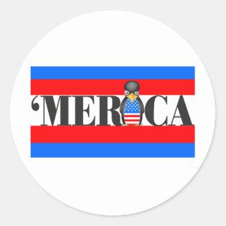Merica One Upset Patriotic Penguin Round Stickers