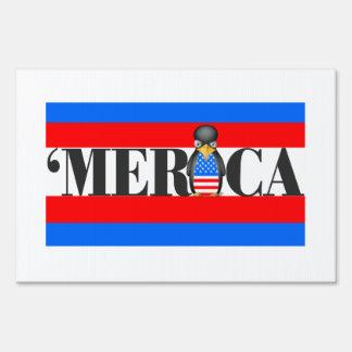 Merica & One Upset Patriotic Penguin Lawn Sign