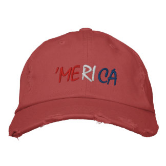 'Merica - Red White and Blue American Patriot Embroidered Baseball Caps