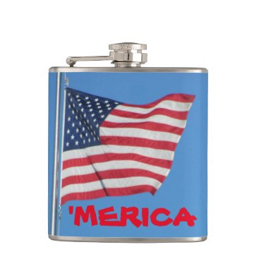 """USA Themed """"Merica Red White And Blue Flag Flask"""
