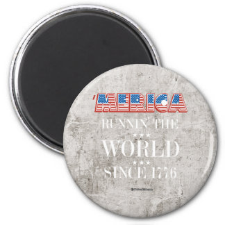 Merica - Runnin el mundo desde 1776 Imán Redondo 5 Cm