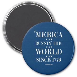 """Merica - Runnin"" el mundo desde 1776 Imán Redondo 7 Cm"