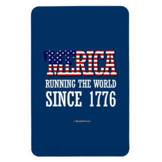 """Merica - Runnin"" el mundo desde 1776 Rectangle Magnet"