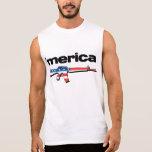 Merica sleeveless shirt with American flag gun