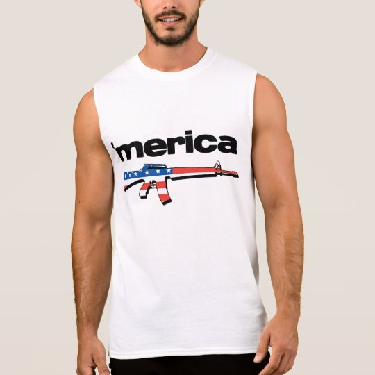 Merica sleeveless shirt with American flag gun