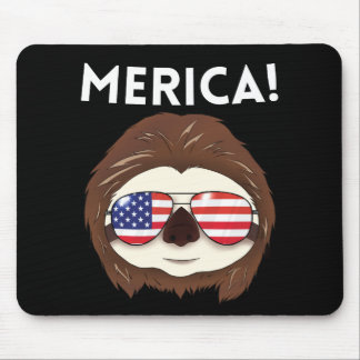 Merica Sloth Flag July 4th Red White T Sloth Mouse Pad