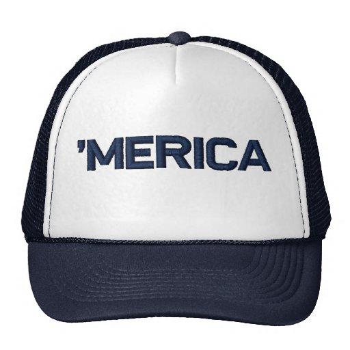 'MERICA Stitch-Style Mesh Trucker Hat (navy blue)