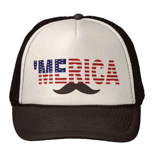 'MERICA US Flag Brown Mustache Hat