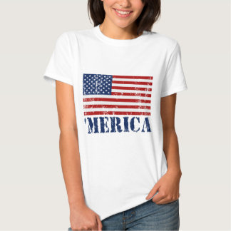 'MERICA US Flag Distressed T-shirt