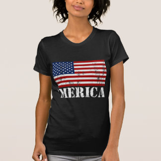 'MERICA US Flag Distressed T-shirt