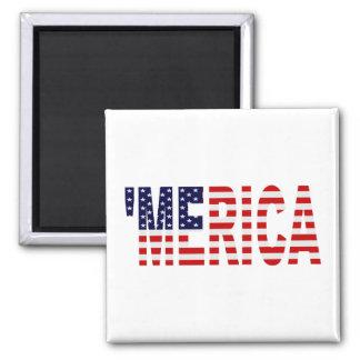 'MERICA US Flag 2 Inch Square Magnet