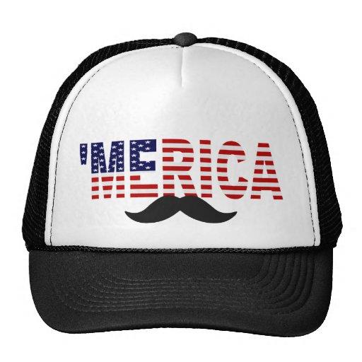'MERICA US Flag Mustache Hat