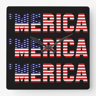 'MERICA US FLAG Square Wall Clock