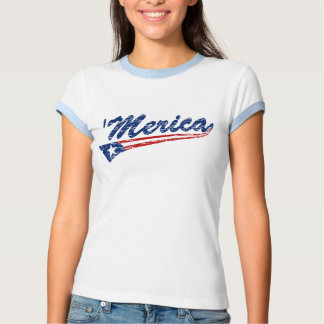 'Merica US Flag Style (Distressed) Ringer T-shirt