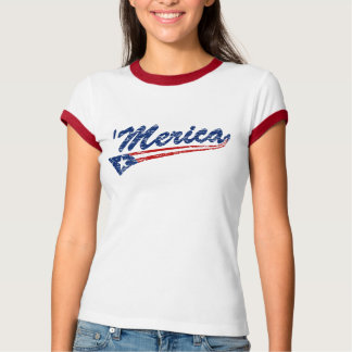 'Merica US Flag Style (Distressed) Ringer T-shirt