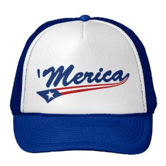 'Merica US Flag Swoosh Trucker Hat (blue)
