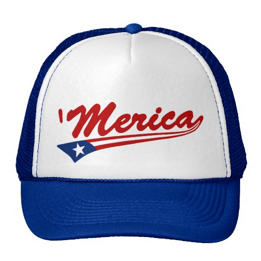 'Merica US Flag Swoosh Trucker Hat (red/blue)