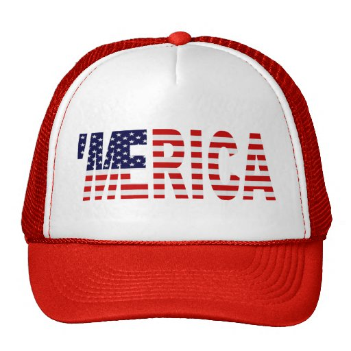 'MERICA US Flag Trucker Hat (red)