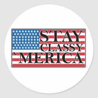 MERICA US Flag Vintage Distressed T-shirt j G png Round Stickers
