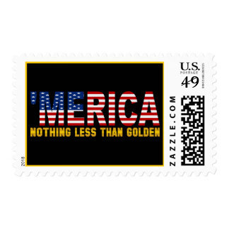 'MERICA USA Flag Nothing Less Than Golden Stamps