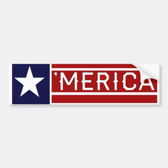 MERICA - USA Flag Shape Customizeable Text Bumper Sticker