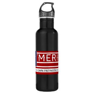 MERICA - USA Flag Shape Customizeable Text 24oz Water Bottle