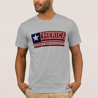MERICA - USA Flag Shape Customizeable Text T-Shirt