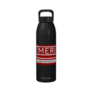 MERICA - USA Flag Shape Customizeable Text Drinking Bottles