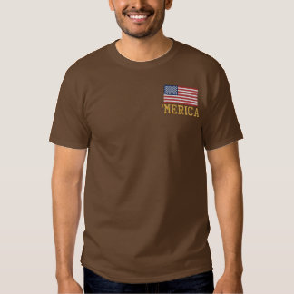 'MERICA USA Stars 'n Stripes FLAG Embroidery Embroidered T-Shirt