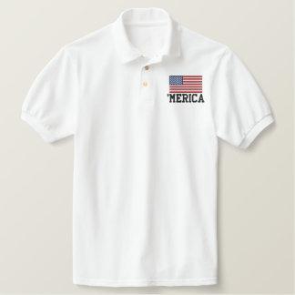 'MERICA USA Stars 'n Stripes FLAG Embroidery Polo