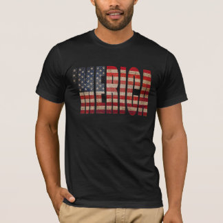 'MERICA Vintage Distressed US Flag T-shirt