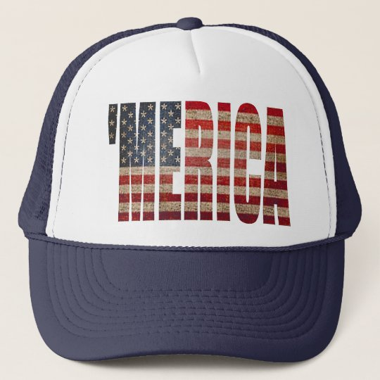 'MERICA Vintage Distressed US Flag Trucker Hat