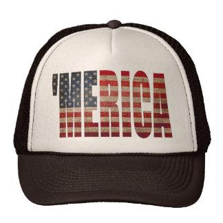 'MERICA Vintage Distressed US Flag Trucker Hat