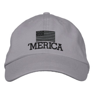 Merica with Gray and Black American Flag Embroidered Baseball Cap