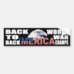 'MERICA World War Champs Eagle Bumper Sticker