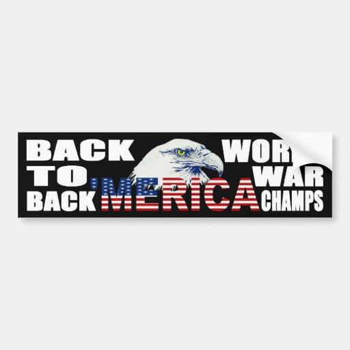 'MERICA World War Champs Eagle Bumper Sticker Car Bumper Sticker