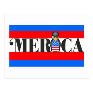 Merica y un pingüino patriótico trastornado postales