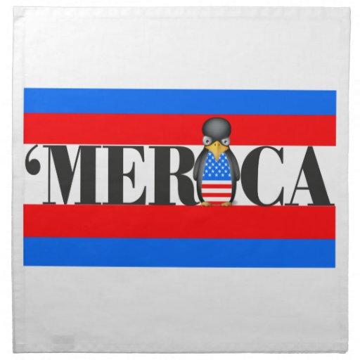 Merica y un pingüino patriótico trastornado servilleta imprimida