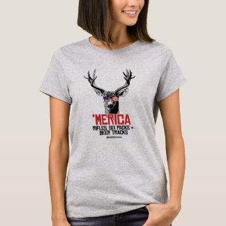 'Merican Deer - Rifles Six packs and deer tracks T-Shirt