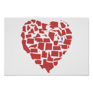 merican States Heart Mosaic Vermont Red Poster