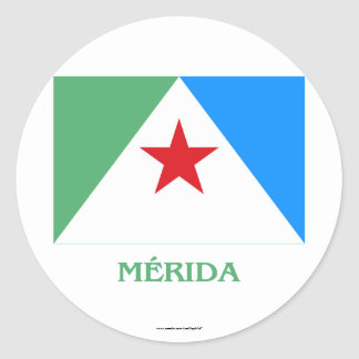 Mérida Flag with Name Round Stickers